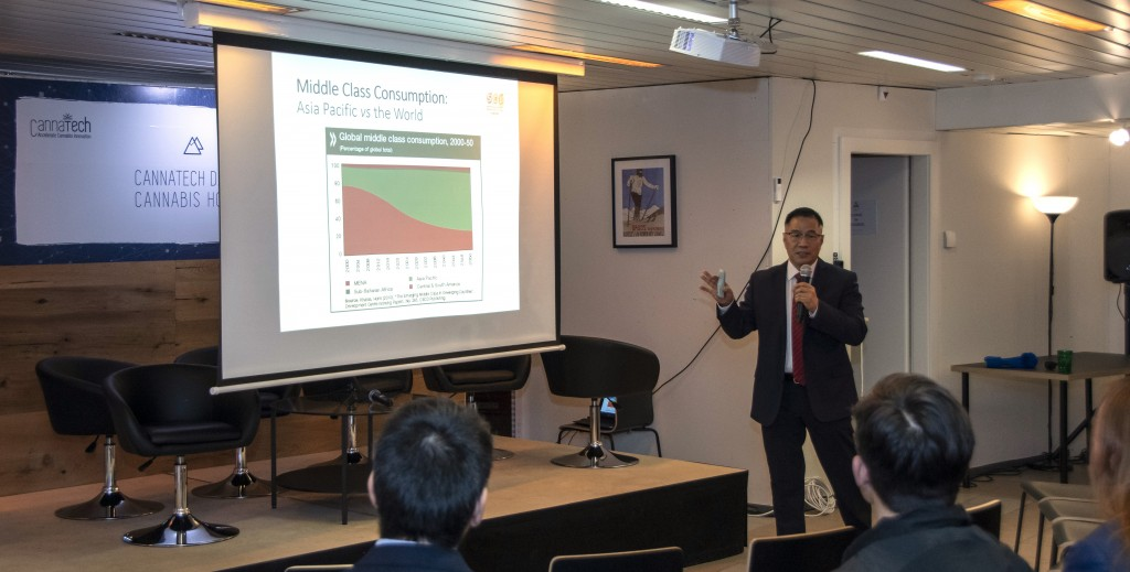 Mr Philip Gu delivering a speech in Cannabis House Davos 2020